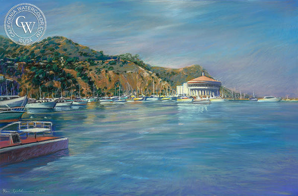 Avalon Casino, Catalina Island, California art by Ken Goldman. HD giclee art prints for sale at CaliforniaWatercolor.com - original California paintings, & premium giclee prints for sale