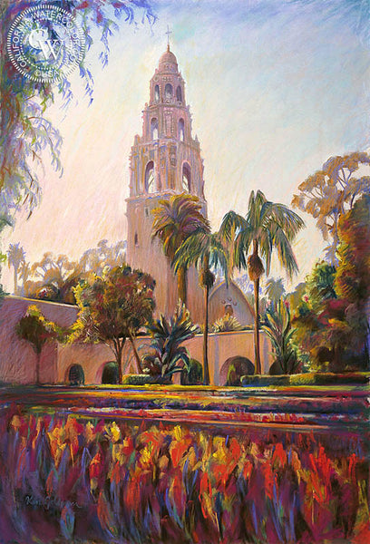 Balboa Tower, California art by Ken Goldman. HD giclee art prints for sale at CaliforniaWatercolor.com - original California paintings, & premium giclee prints for sale