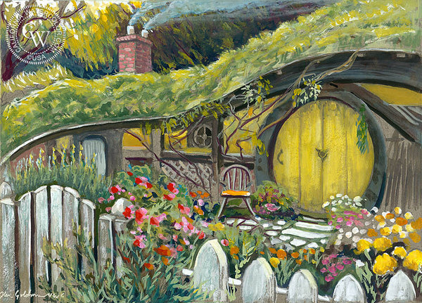 Bilbo Baggins Home in NZ, an original watercolor painting by Ken Goldman. Bilbo Baggins art, Lord of the Rings art. Fine art prints for sale at CaliforniaWatercolor.com - original California paintings, & premium giclee prints for sale