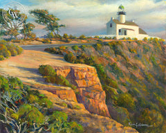 Cabrillo Lighthouse, a California oil painting by Ken Goldman. HD giclee art prints for sale at CaliforniaWatercolor.com - original California paintings, & premium giclee prints for sale