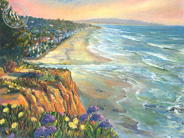 Del Mar Dog Beach, a California oil painting by Ken Goldman. HD giclee art prints for sale at CaliforniaWatercolor.com - original California paintings, & premium giclee prints for sale