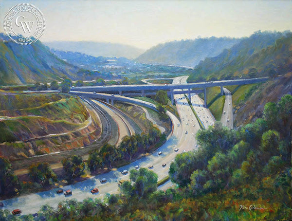 Ken Goldman-I-5 South from La Jolla Scenic Drive, an original California oil painting for sale, original California art for sale - CaliforniaWatercolor.com