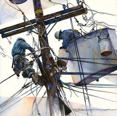 Line and Space #3, a California watercolor painting by Ken Goldman. Telephone poles, power lines, hard work. HD giclee art prints for sale at CaliforniaWatercolor.com - original California paintings, & premium giclee prints for sale