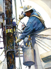 Line and Space #4, a California watercolor painting by Ken Goldman. Telephone poles, power lines, hard work. HD giclee art prints for sale at CaliforniaWatercolor.com - original California paintings, & premium giclee prints for sale