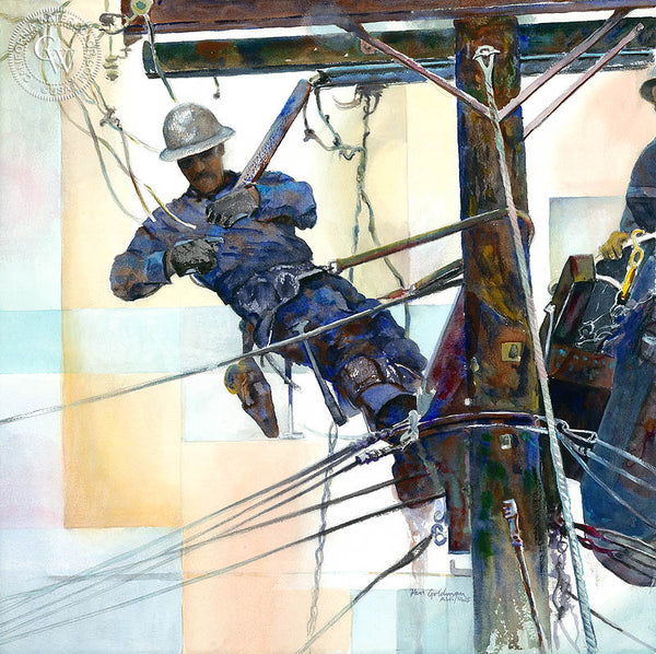 Lineman, a California watercolor painting by Ken Goldman. Telephone poles, power lines, hard work. HD giclee art prints for sale at CaliforniaWatercolor.com - original California paintings, & premium giclee prints for sale