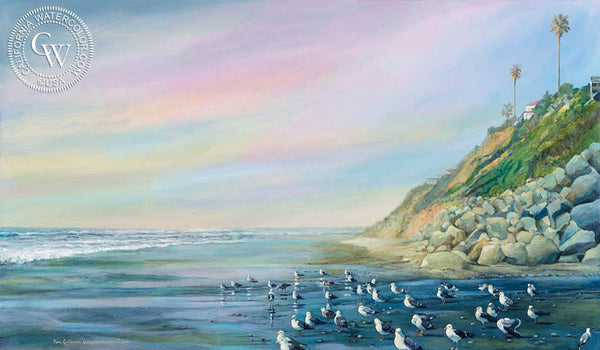 Moonlight Beach, a California oil painting by Ken Goldman. HD giclee art prints for sale at CaliforniaWatercolor.com - original California paintings, & premium giclee prints for sale