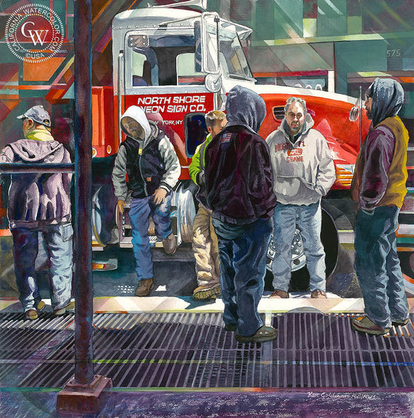 New York Construction Squad, a California watercolor painting by Ken Goldman. Telephone poles, power lines, hard work. HD giclee art prints for sale at CaliforniaWatercolor.com - original California paintings, & premium giclee prints for sale