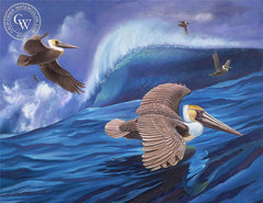 Pelicans, a California oil painting by Ken Goldman. HD giclee art prints for sale at CaliforniaWatercolor.com - original California paintings, & premium giclee prints for sale