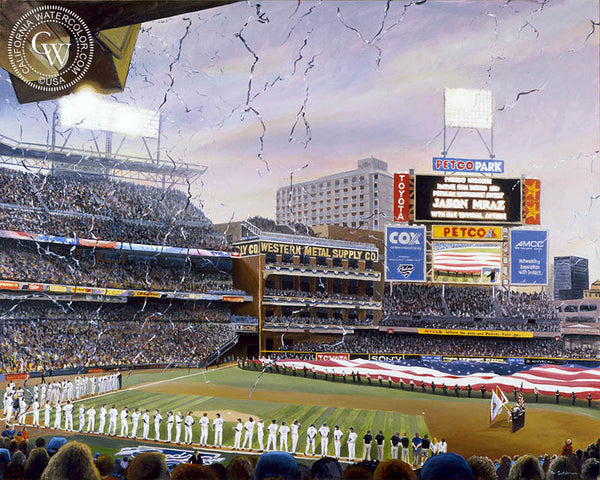 Petco, San Diego Padres baseball stadium, a California oil painting by Ken Goldman. HD giclee art prints for sale at CaliforniaWatercolor.com - original California paintings, & premium giclee prints for sale