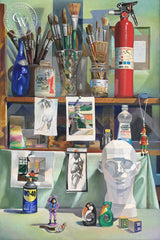 Studio Life, by Ken Goldman. An original California acrylic painting for sale, original California art for sale - CaliforniaWatercolor.com