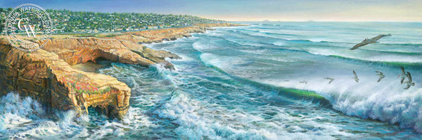 Sunset Cliffs, California art by Ken Goldman. HD giclee art prints for sale at CaliforniaWatercolor.com - original California paintings, & premium giclee prints for sale