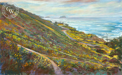 Sunset Cliffs Spring, California watercolor art by Ken Goldman. HD giclee art prints for sale at CaliforniaWatercolor.com - original California paintings, & premium giclee prints for sale