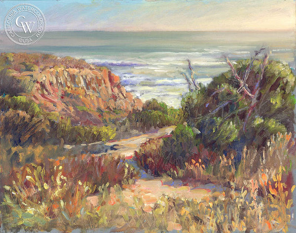 Sunset Cliffs Vista, a California oil painting by Ken Goldman. HD giclee art prints for sale at CaliforniaWatercolor.com - original California paintings, & premium giclee prints for sale