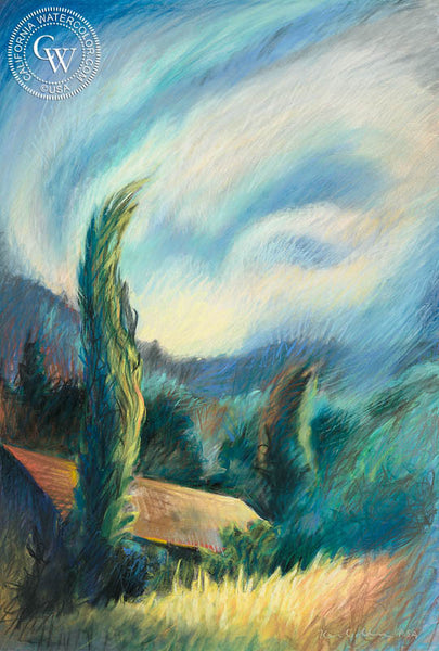 Swirling Cypress, Pastel art by Ken Goldman. HD giclee art prints for sale at CaliforniaWatercolor.com - original California paintings, & premium giclee prints for sale