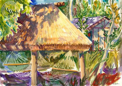 Tavarua Palapa, California watercolor art by Ken Goldman. HD giclee art prints for sale at CaliforniaWatercolor.com - original California paintings, & premium giclee prints for sale