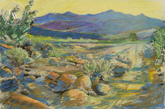Borrego Desert Dusk, California art by Ken Goldman. HD giclee art prints for sale at CaliforniaWatercolor.com - original California paintings, & premium giclee prints for sale