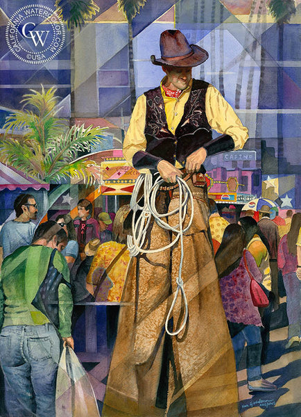 Cowboy on Stilts at the Del Mar Fair, California art by Ken Goldman. HD giclee art prints for sale at CaliforniaWatercolor.com - original California paintings, & premium giclee prints for sale