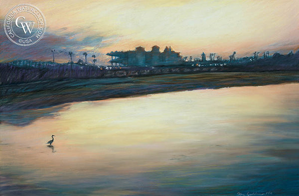 Del Mar Dawn, California art by Ken Goldman. HD giclee art prints for sale at CaliforniaWatercolor.com - original California paintings, & premium giclee prints for sale