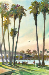 Mission Bay Dusk, California art by Ken Goldman. HD giclee art prints for sale at CaliforniaWatercolor.com - original California paintings, & premium giclee prints for sale