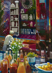 Morning Preparations in AU, California art by Ken Goldman. HD giclee art prints for sale at CaliforniaWatercolor.com - original California paintings, & premium giclee prints for sale