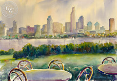San Diego Skyline from Coronado, California art by Ken Goldman. HD giclee art prints for sale at CaliforniaWatercolor.com - original California paintings, & premium giclee prints for sale