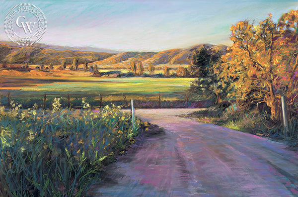 San Pasqual Morning Glow, California art by Ken Goldman. HD giclee art prints for sale at CaliforniaWatercolor.com - original California paintings, & premium giclee prints for sale