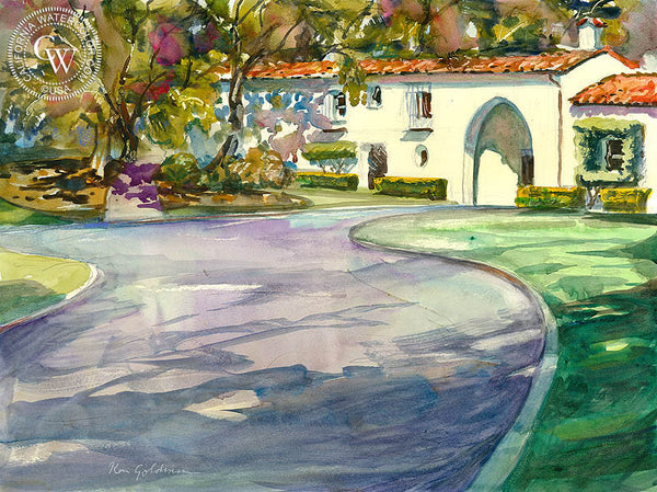 Soka University, Malibu, California art by Ken Goldman. HD giclee art prints for sale at CaliforniaWatercolor.com - original California paintings, & premium giclee prints for sale