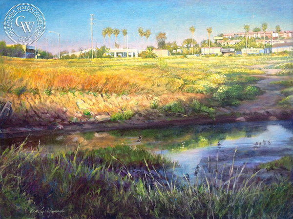 Ken Goldman-Famosa Slough Dusk, an original California oil painting for sale, original California art for sale - CaliforniaWatercolor.com