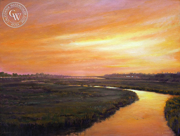Ken Goldman-San Diego River Dusk, an original California oil painting for sale, original California art for sale - CaliforniaWatercolor.com