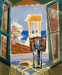 Agrigento Window, 1953, California art by Ken Potter. HD giclee art prints for sale at CaliforniaWatercolor.com - original California paintings, & premium giclee prints for sale