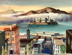 Alcatraz, 1949, California art by Ken Potter. HD giclee art prints for sale at CaliforniaWatercolor.com - original California paintings, & premium giclee prints for sale