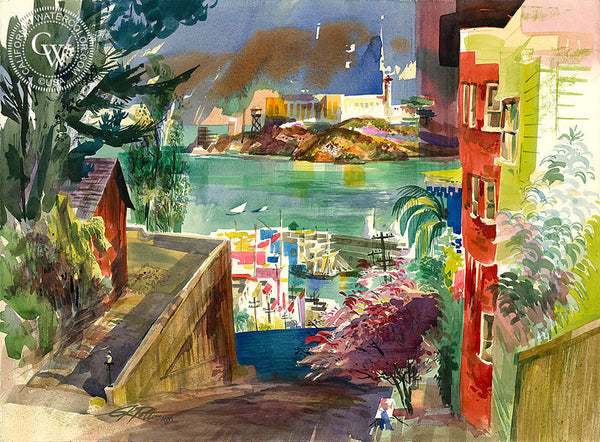 Alcatraz, 1979, California art by Ken Potter. HD giclee art prints for sale at CaliforniaWatercolor.com - original California paintings, & premium giclee prints for sale