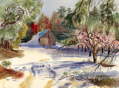 Apple Orchard in the Snow, 1966, California art by Ken Potter. HD giclee art prints for sale at CaliforniaWatercolor.com - original California paintings, & premium giclee prints for sale
