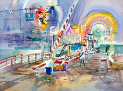 Balboa Island Ferry, California art by Ken Potter. HD giclee art prints for sale at CaliforniaWatercolor.com - original California paintings, & premium giclee prints for sale