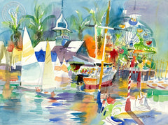 Balboa Pavilion II, 2006, California art by Ken Potter. HD giclee art prints for sale at CaliforniaWatercolor.com - original California paintings, & premium giclee prints for sale