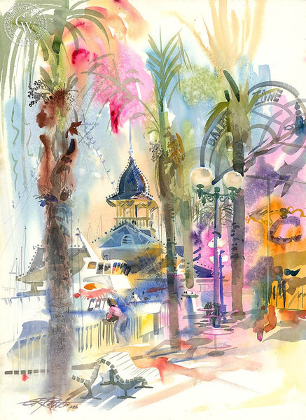 Balboa Pavilion, 1986, California art by Ken Potter. HD giclee art prints for sale at CaliforniaWatercolor.com - original California paintings, & premium giclee prints for sale