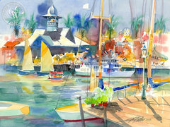 Ken Potter - Balboa Pavilion & Pavilion Queen, 2006, California art, original California watercolor art for sale, fine art print for sale, giclee watercolor print - CaliforniaWatercolor.com