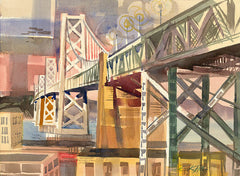 Bay Bridge, 1960, California watercolor art by Ken Potter. HD giclee art prints for sale at CaliforniaWatercolor.com - original California paintings, & premium giclee prints for sale