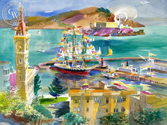 Bay from Russian Hill, 2004, California art by Ken Potter. HD giclee art prints for sale at CaliforniaWatercolor.com - original California paintings, & premium giclee prints for sale
