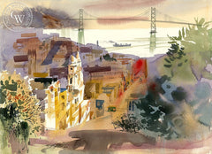 Broadway Morning, 1971, California art by Ken Potter. HD giclee art prints for sale at CaliforniaWatercolor.com - original California paintings, & premium giclee prints for sale