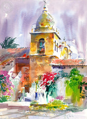 Carmel Mission, 1999, California art by Ken Potter. HD giclee art prints for sale at CaliforniaWatercolor.com - original California paintings, & premium giclee prints for sale