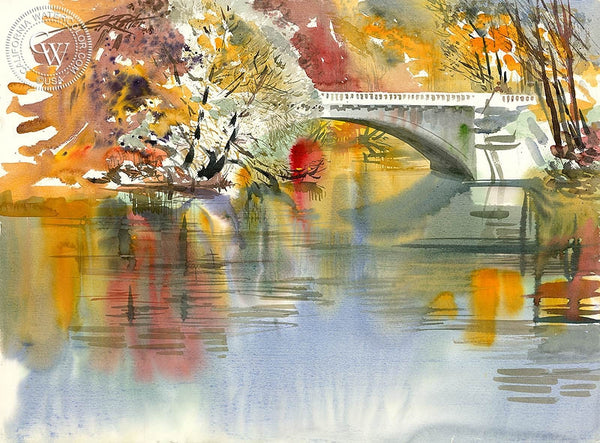 Cass Street Bridge, California art by Ken Potter. HD giclee art prints for sale at CaliforniaWatercolor.com - original California paintings, & premium giclee prints for sale