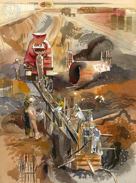 Ken Potter - Cement Pouring, 1963, California art, original California watercolor art for sale, fine art print for sale, giclee watercolor print - CaliforniaWatercolor.com