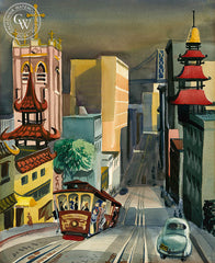 China Town and the Bay Bridge, c. 1948, California art by Ken Potter. HD giclee art prints for sale at CaliforniaWatercolor.com - original California paintings, & premium giclee prints for sale