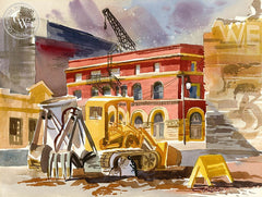 Demolition of the Produce District, 1961, California art by Ken Potter. HD giclee art prints for sale at CaliforniaWatercolor.com - original California paintings, & premium giclee prints for sale