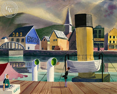 Dieppe Harbor, France, 1950, California art by Ken Potter. HD giclee art prints for sale at CaliforniaWatercolor.com - original California paintings, & premium giclee prints for sale
