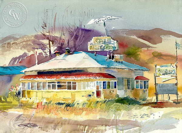 Double Diner, 1990, California art by Ken Potter. HD giclee art prints for sale at CaliforniaWatercolor.com - original California paintings, & premium giclee prints for sale