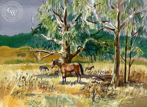 Eucalyptus, West Marin Horses, 1965, California art by Ken Potter. HD giclee art prints for sale at CaliforniaWatercolor.com - original California paintings, & premium giclee prints for sale
