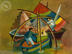 Fishermen of Ravenna, Italy, 1952, California art by Ken Potter. HD giclee art prints for sale at CaliforniaWatercolor.com - original California paintings, & premium giclee prints for sale