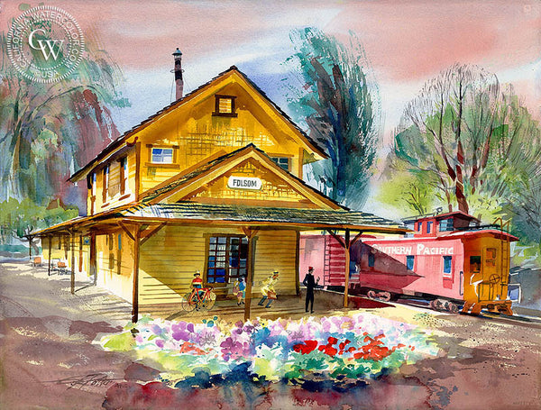 Folsom Depot, 1997, California art by Ken Potter. HD giclee art prints for sale at CaliforniaWatercolor.com - original California paintings, & premium giclee prints for sale